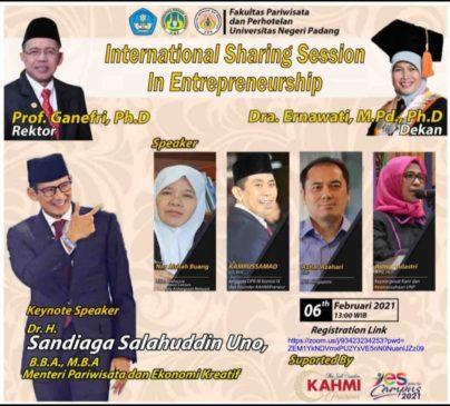 International Sharing Session In Entrepreneurship bersama Menteri Pariwisata dan Ekonomi Kreatif