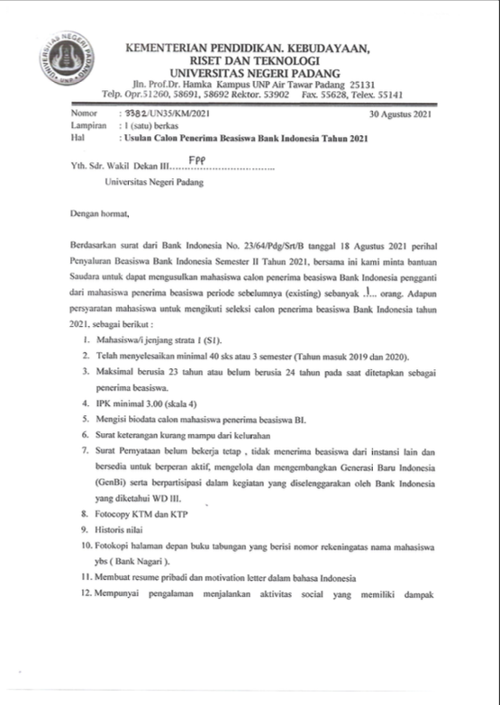Usulan Calon Penerima Beasiswa Bank Indonesia Tahun 2021